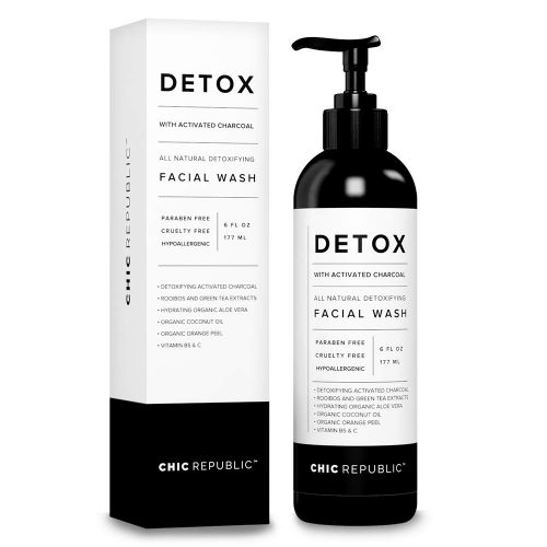 8.All Natural Activated Charcoal Facial Cleanser - Organic Daily Acne Treatment, Face Wash for Smooth Skin, Pore Minimizing Facewash, Anti Aging Skin Rejuvenation, Aloe Vera Gel, Coconut Oil