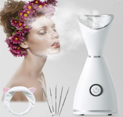 9.Hot Mist Facial Steamer, RGCTL Nano lonic Warm Mist Humidifier Atomizer Sprayer Moisturizing Face SPA with 5 Piece Stainless Steel Skin Kit and Head Band