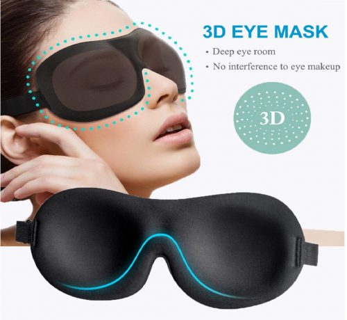9.Sleep Mask 3 Pack, Upgraded 3D Contoured 100% Blackout Eye Mask for Sleeping with Adjustable Strap, Comfortable & Soft Night Blindfold for Women Men, Eye Shades for Travel Naps