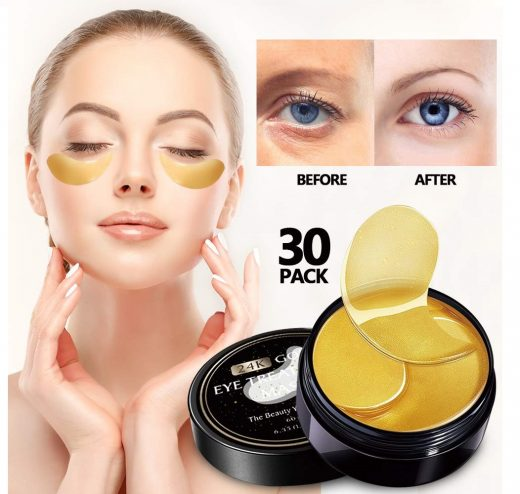 9.Vanelc 24k Gold Eye Mask-with Collagen Under Eye Patches, Dark Circles Under Eye Treatment, Under Eye Bags Treatment, Eye Mask for Puffy Eyes, Anti-Wrinkle,