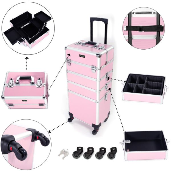 13. Mefeir Rolling Makeup Case 4 in 1 Beauty Artist Organizer Box