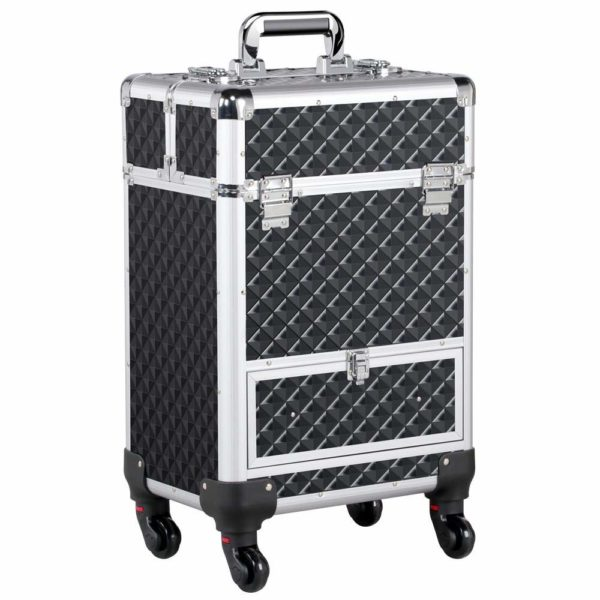 16. Yaheetech Rolling Makeup Case with Aluminum Travel Case