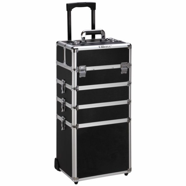 17. Ollieroo 4 in 1 Aluminum Rolling Cosmetic Makeup Train Cases Trolley Professional Artist