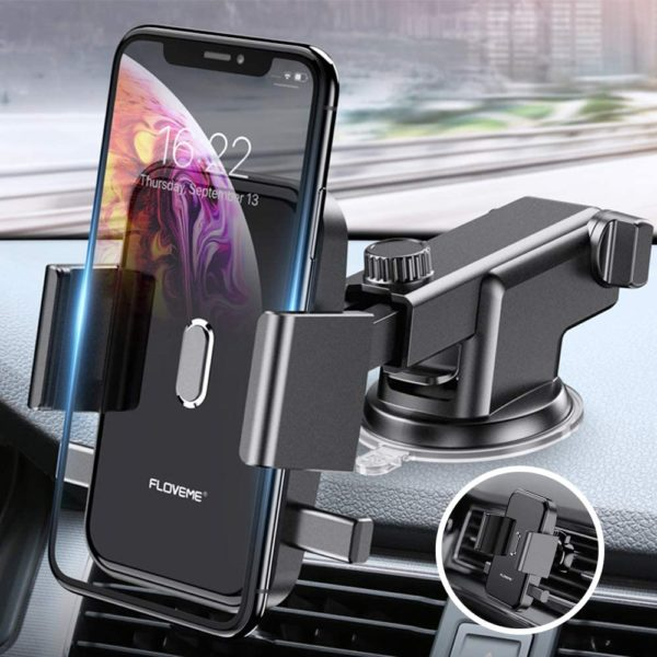 4. Cell Phone Holder for Car - FLOVEME 360 Rotate Long Arm One Touch Auto Grip Dashboard