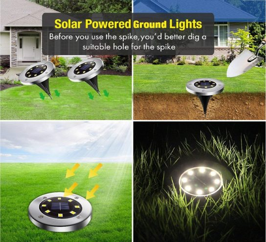 1.Solar Ground Lights, Upgraded Outdoor Garden Waterproof Bright in-Ground