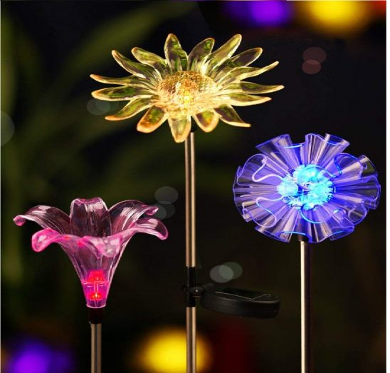 10.Solar Stake Lights, Life-Size Figurines LED, [ [Set of 3] Dandelion & Lily & Sunflower