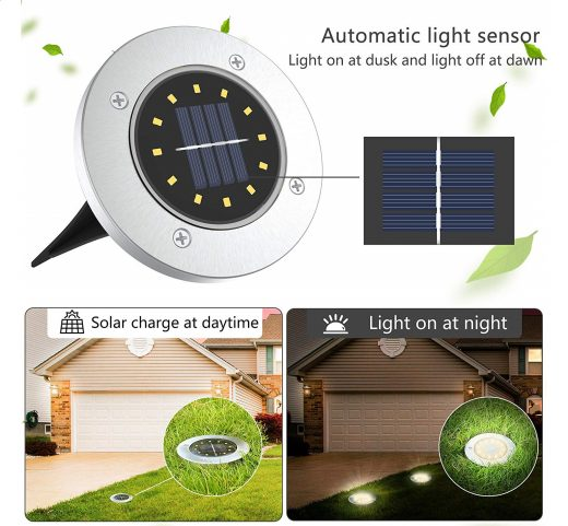 11.Solar Disk Lights 12 LED Solar Ground Lights Outdoor Waterproof Stainless Steel in Ground Solar