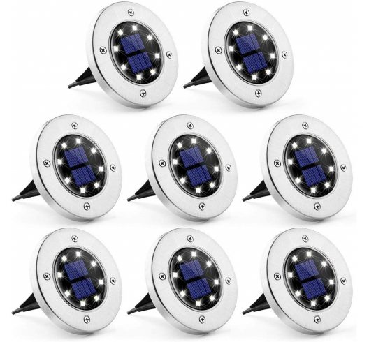 13.Solar Ground Lights 8 Pack, 8 LED Solar Powered Disk Lights Outdoor Waterproof