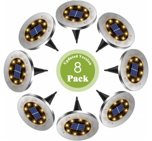 14.FERTOY 8 LED Bulbs Solar Ground Lights Outdoor Waterproof for Garden