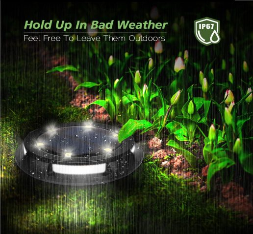 15.Solar Ground Lights Outdoor, 10 LED Solar Disk Lights, IP67 Waterproof Solar Garden Lights