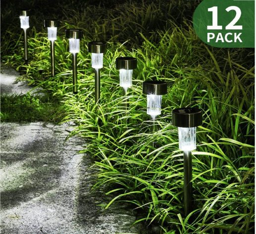 2.Solar Lights Outdoor Garden Led Light Landscape Pathway Lights Stainless Steel-12 Pack