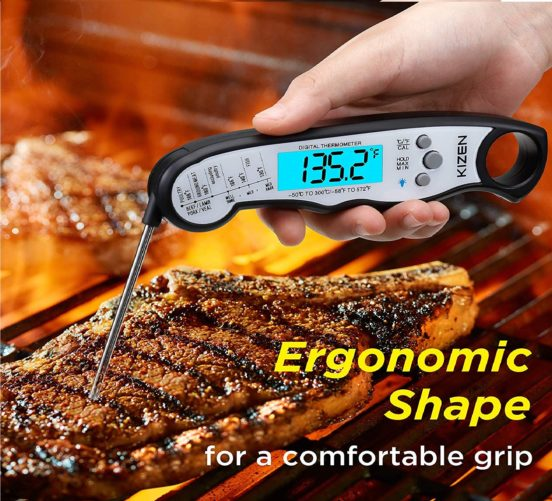 3.Best Waterproof Ultra Fast Thermometer with Backlight & Calibration