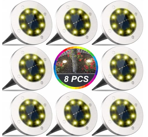3.Solar Ground Lights, 8 LED Disk Lights Solar Powered, Outdoor In-Ground Lights, IP65 Waterproof