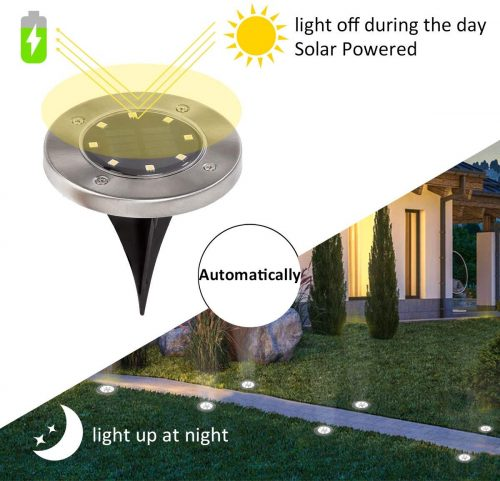 4.12 Pack Solar Ground Lights, 8 LED Solar Powered Disk Lights Outdoor Waterproof Garden Landscape