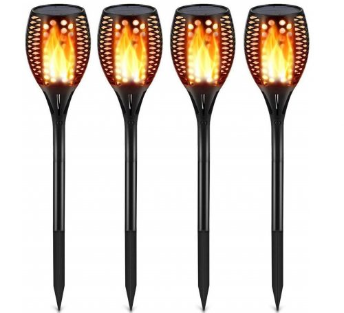 4.Solar Lights Upgraded, Waterproof Flickering Flames Torches Lights Outdoor Solar Spotlights Landscape
