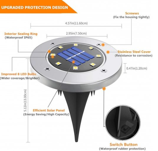 5.Biling Solar Disk Lights Outdoor, 8 LED Bulbs Solar Ground Lights Outdoor Waterproof