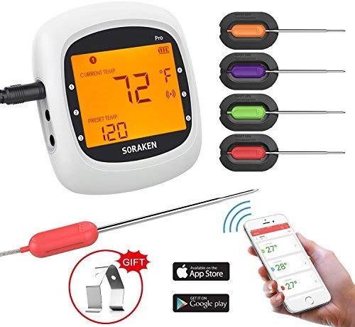 5.Wireless Meat Thermometer for Grilling, Bluetooth Meat Thermometer Digital BBQ Cooking