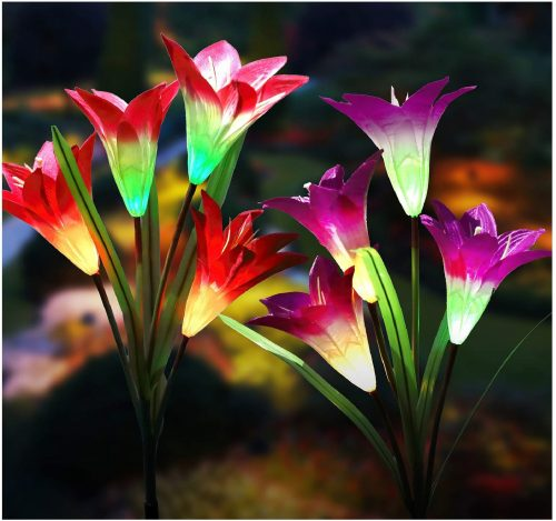7.New Upgraded Solar Garden Lights, Multi-Color Changing Lily Solar Flower Lights