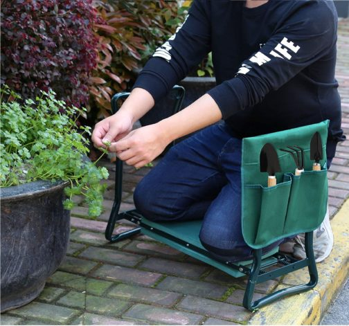 8.Folding Garden Kneeler Seat Bench Stool w Soft Kneeling Pad
