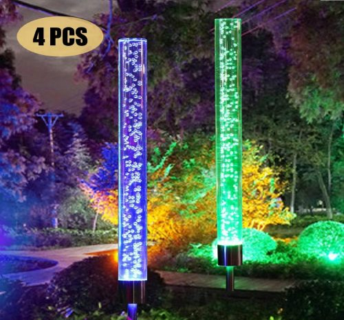 8.Garden Solar Lights Outdoor Solar Acrylic Bubble RGB Color Changing Solar Powered for Garden
