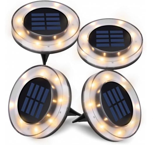 8.Solar Ground Lights,Newest Design Solar Disk Lights Outdoor, Waterproof Patio Garden