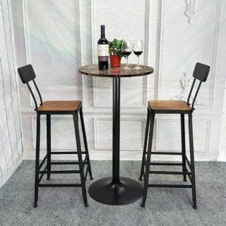 6.Furmax Bistro Pub Table Round Bar Height Cocktail Table Metal Base MDF Top Obsidian Table with Black Leg