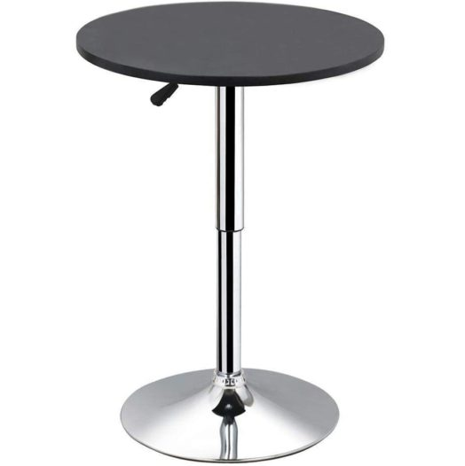 8.Yaheetech Round Pub Bar Table Black MDF Top with Silver Leg Base 27.4-35.8 inch Adjustable 88 lb Capacity