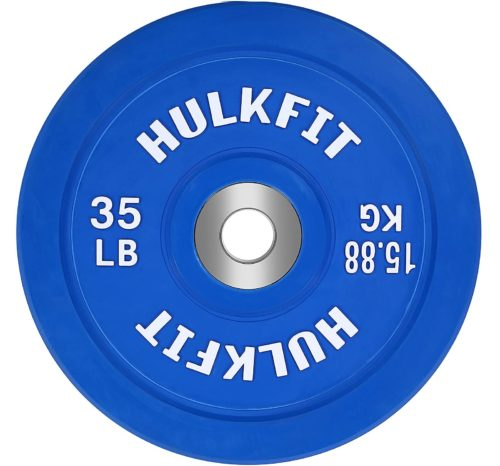 1.HulkFit Color Coded Olympic 2-Inch Rubber Bumper Plate with Steel Hub for Strength Training, Weightlifting and Crossfit, Single
