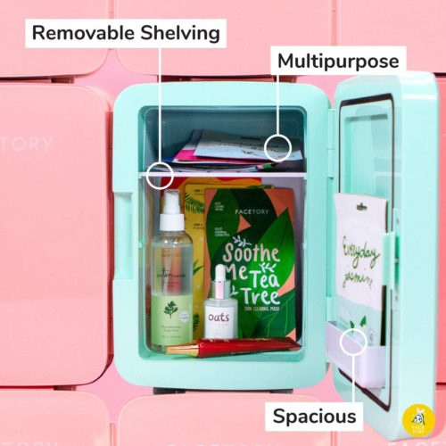 10.FaceTory Portable Mint Beauty Fridgewith Heat and Cool Capacity