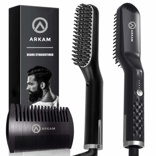 11.Arkam Premium Beard Straightener for Men - Cutting Edge Ionic Beard Straightening Comb for Home & Travel