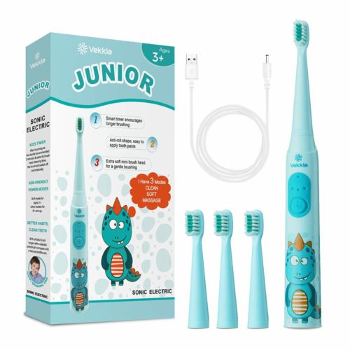11.Vekkia Dragon Lord Sonic Rechargeable Kids Electric Toothbrush, 3 Modes With Memory, Fun & Easy