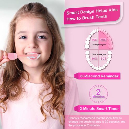 13.Sonic Whitening Kids Electric Toothbrushes, Wireless USB Rechargeable Toothbrush With 2 Reminder Heads