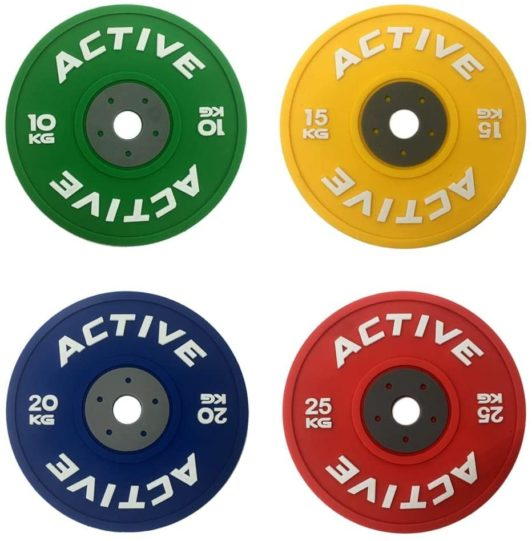 15.ACTIVE Bumper Plate Drink Coaster Set (4 Pack) - for Fitness, Weightlifting, WOD Athletes