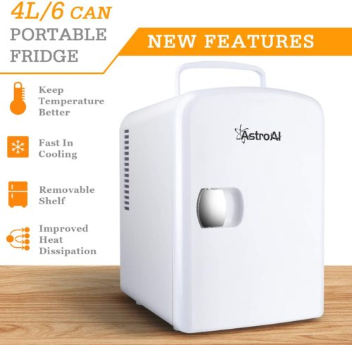 2.AstroAI Mini Fridge 4 Liter 6 Can AC DC Portable Thermoelectric Cooler and Warmer for Skincare, Breast Milk