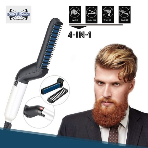 2.Cutie Academy Ionic Beard Straightening Comb - Detangling & Volumizing & Styling Beard Straightening Brush for Men - Portable Heating Beard Straightener with Anti-Scald Feature