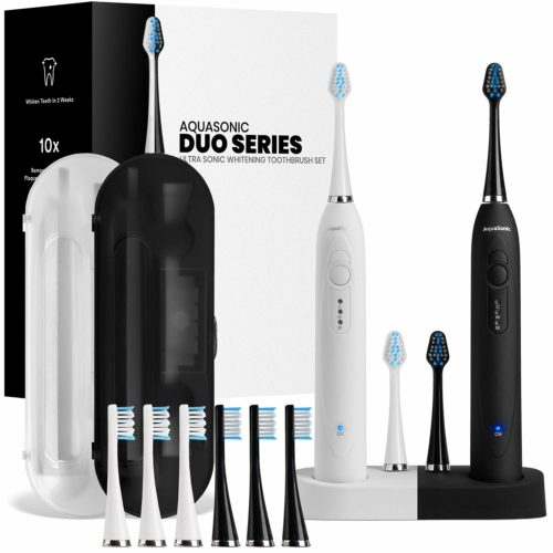 3.AquaSonic DUO Dual Handle Ultra Whitening 40,000 VPM Wireless Charging Electric ToothBrushes