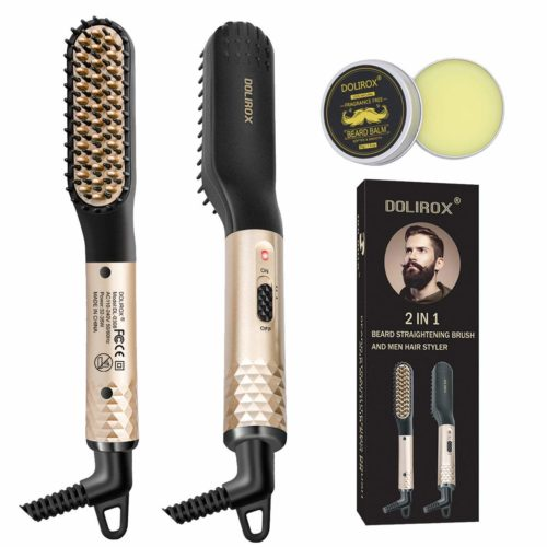 3.Beard Straightener for men, Multifunctional Hair Styler Electric Hot Comb with Beard Balm and Beard Straightening Brush