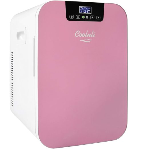 4.Cooluli Concord Pink 20 Liter Compact Cooler Warmer Mini Fridge for Bedroom, Office, Car, Dorm