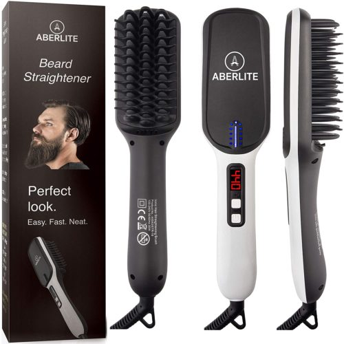 5.(UPGRADED) Aberlite MAX - Beard Straightener for Men - Beard Straightening Heat Brush Comb Ionic - 5 Heat Settings Up to 440F - For Home & Travel