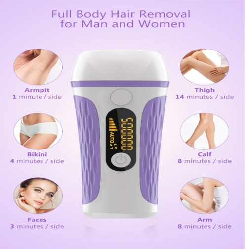 6.IPL Laser Hair Removal for Women & Men -500,000 Flashes Painless Permanent Facial Hair Removal Body Legs Bikini Arm