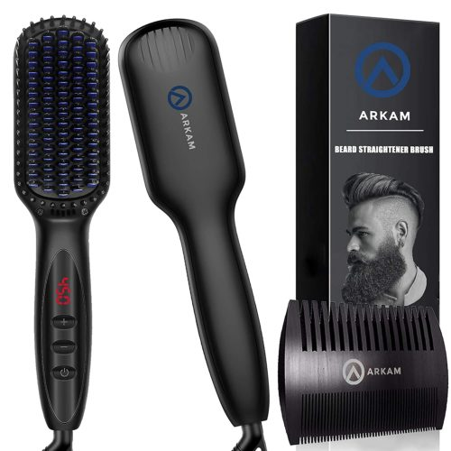 7.Arkam Beard Straightener for Men, Ionic Beard Straightening Comb with Anti-Scald Feature, Heated Hair Straightener for Men & Women