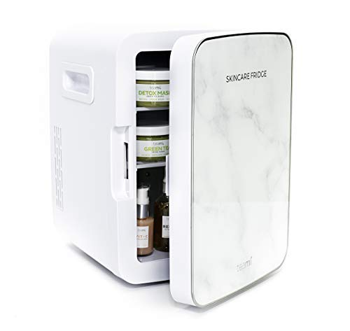 7.Teami Mini Fridge for Skincare - 10 Liter Compact Mini Refrigerator - Perfect for Bedroom or the Office. Store Cans, Cosmetics,