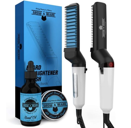 9.Beard Straightener Brush, Oil & Balm Grooming Kit for Men Ionic Beard Straightening Comb for Detangling & Volumizing