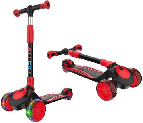 Allek 3 Wheeled Scooters for Kids and Young Adults, Folding Kids Scooters with Height Adjustment
