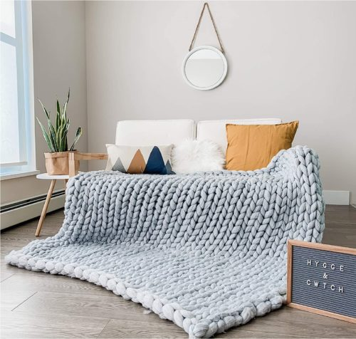 HYGGE & CWTCH Chunky Knit Blanket Grey Throw Soft Giant Yarn Large Knitted Blanket