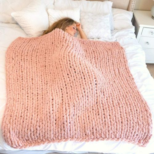 Hearth & Crate Chunky Knit Blankets Super Soft Pink Throw Blanket Yarn