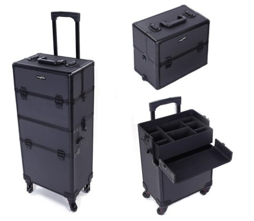 Mefeir Portable Rolling Makeup Train Case Travel Lift Handle, Best Professional Makeup Kits