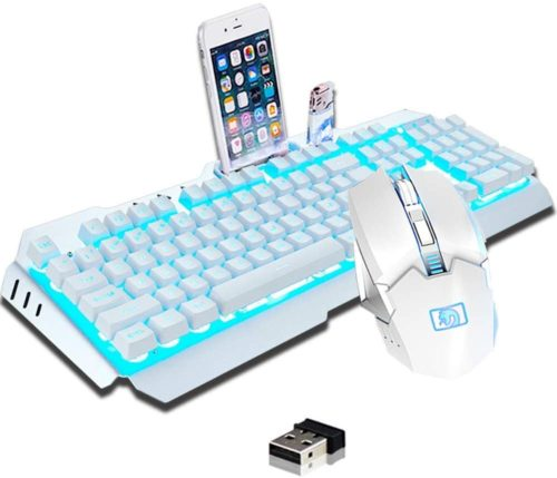 13. LexonElec Quiet Mechanical Keyboard Feel Metal Panel Rechargeable Backlit Keyboard and Mouse