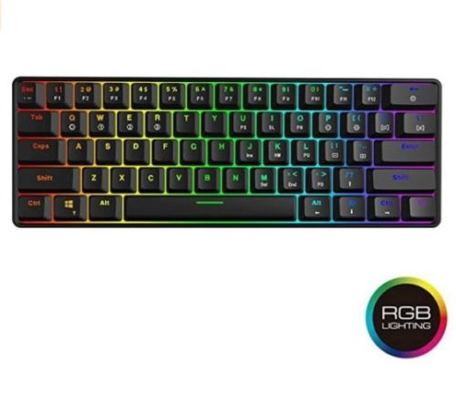 14. GK61 Quiet Mechanical Keyboard with Waterproof Multi LED Backlit Small Gaming Keyboard