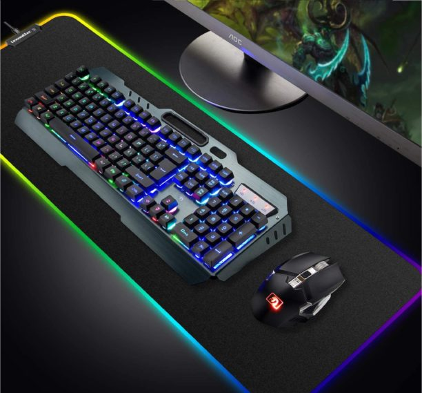 15. LexonElec Rainbow Keyboard with LED  Rechargeable Backlit Keyboard and Mouse